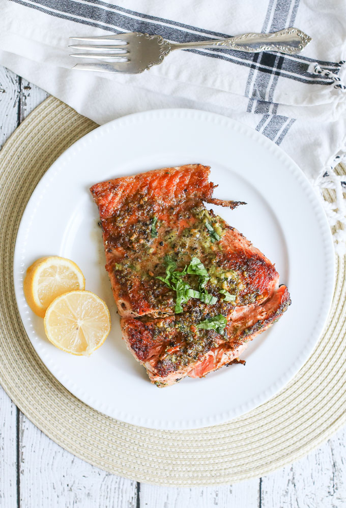 pistachio basil pesto with pan-fried salmon