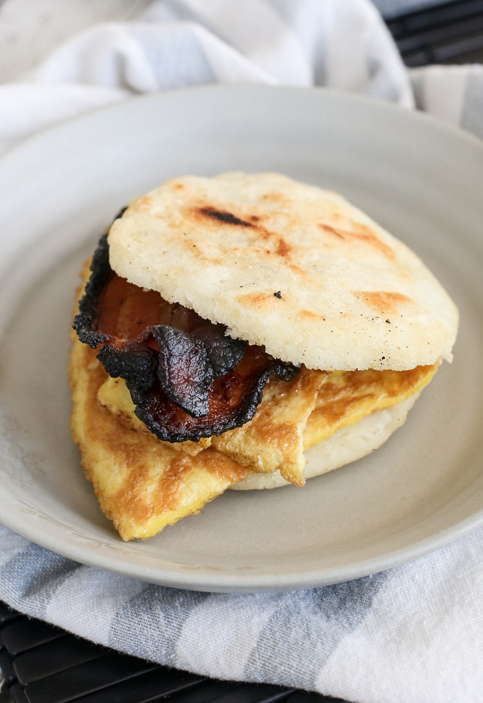 gluten free bacon egg sandwiches with arepas substituted for the bread