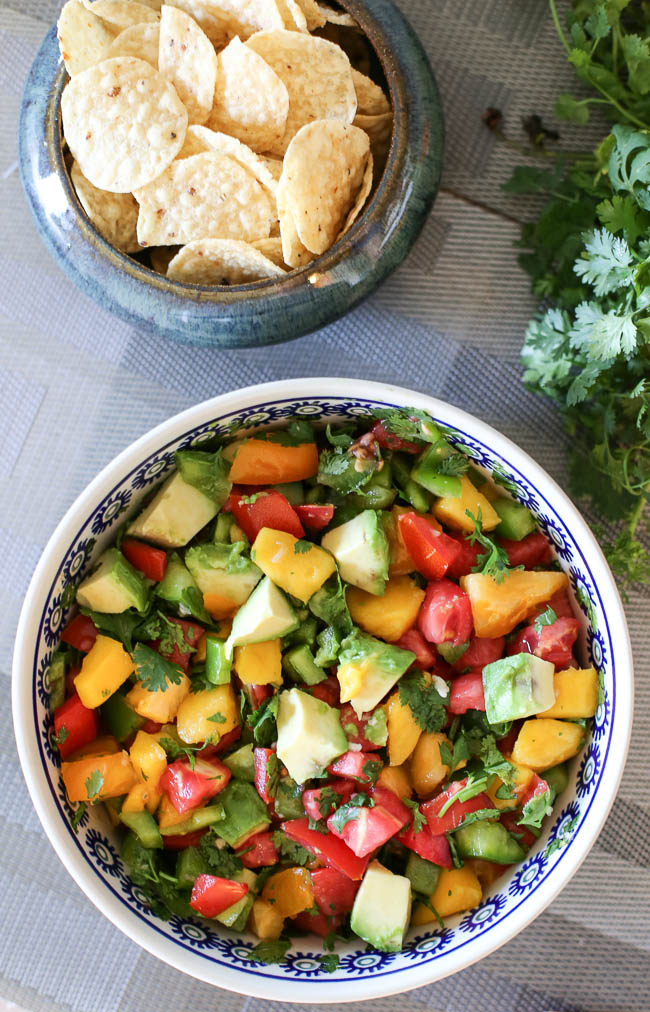 chunky mango and avocado salsa