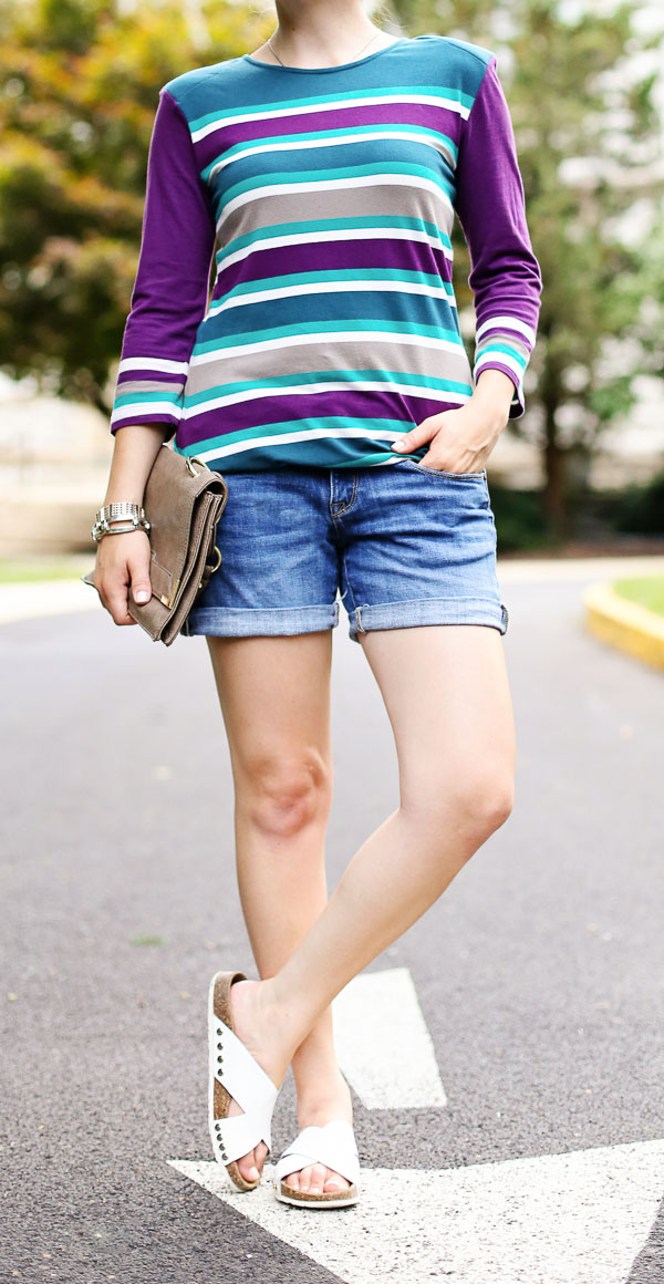 Striped Dress Denim Shorts White Slides