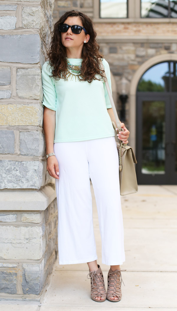 White Culottes Green Boxy Top