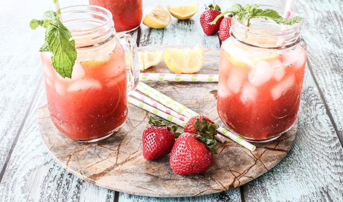 three lemonade recipes for summer: strawberry mint lemonade + hibiscus guava + peach
