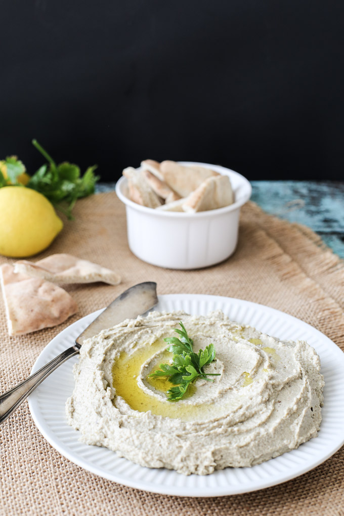 A family recipe for mutabal (moutabal), a Syrian dish made with eggplants, tahini, lemon juice and garlic and served with pita bread.