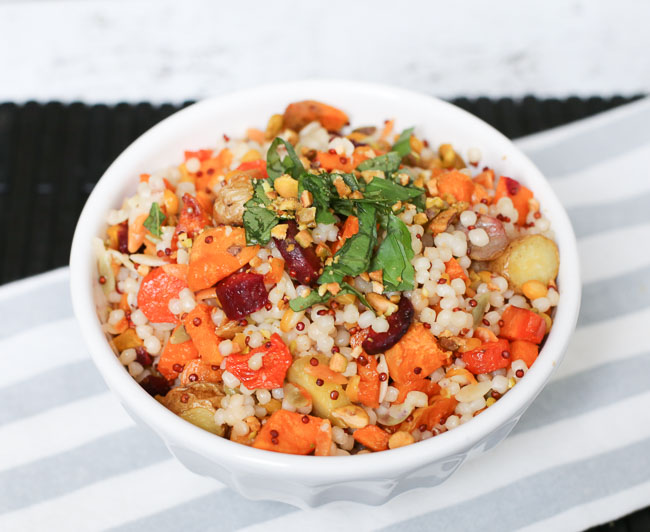 Harvest Grains with Roasted Vegetables, Lemon and Basil - SO GOOD!