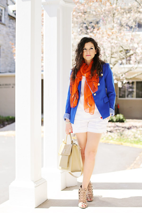 White Shorts Blue Blazer Neutrals