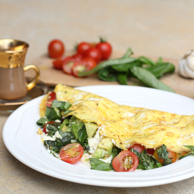Fresh Mozzarella Omelettes with Tomato, Basil & Avocado