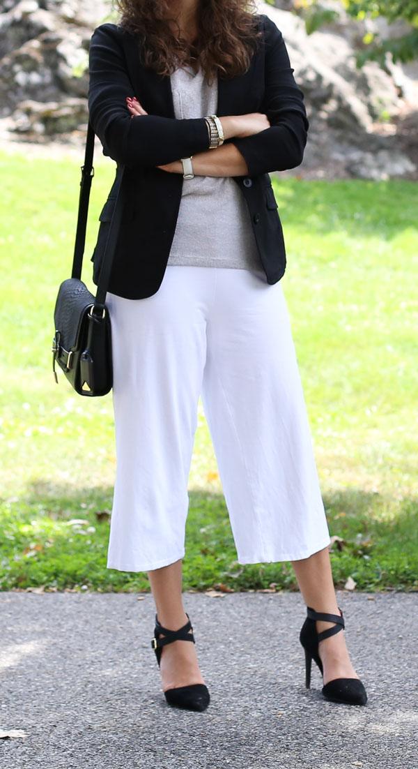 White Culottes Light Gray Sweater Black Blazer